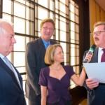 Friedrich G. Conzen, OB Dirk Elbers, Gisela Steinhauer, Josef Sanktjohanser (v.l.n.r.) | Jahresempfang der Handelsverbände 2014 | © HV NRW
